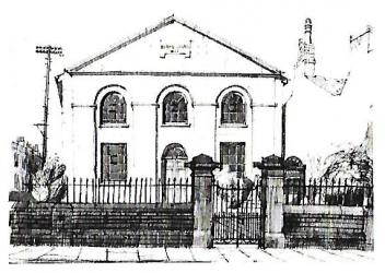 Postcard drawing of Chapel Arts (then the Christadelphian Hall)