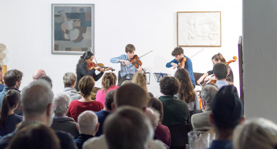 Photo of the Ligeti Quartet at Kettle's Yard